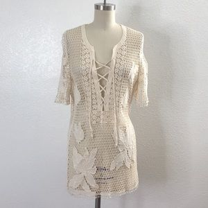 Vintage Ivory beach boho knit cover up M